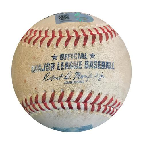 Photo of Game-Used Baseball from Pirates vs. Padres on 5/20/18 - Eric Hosmer Single