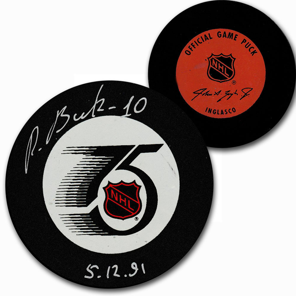 Pavel Bure Autographed NHL 75th Anniversary Official Game Vintage In Glas Co Puck (Russian Signature)