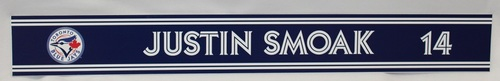 Photo of Authenticated Game Used 2018 Locker Name Plate - #14 Justin Smoak