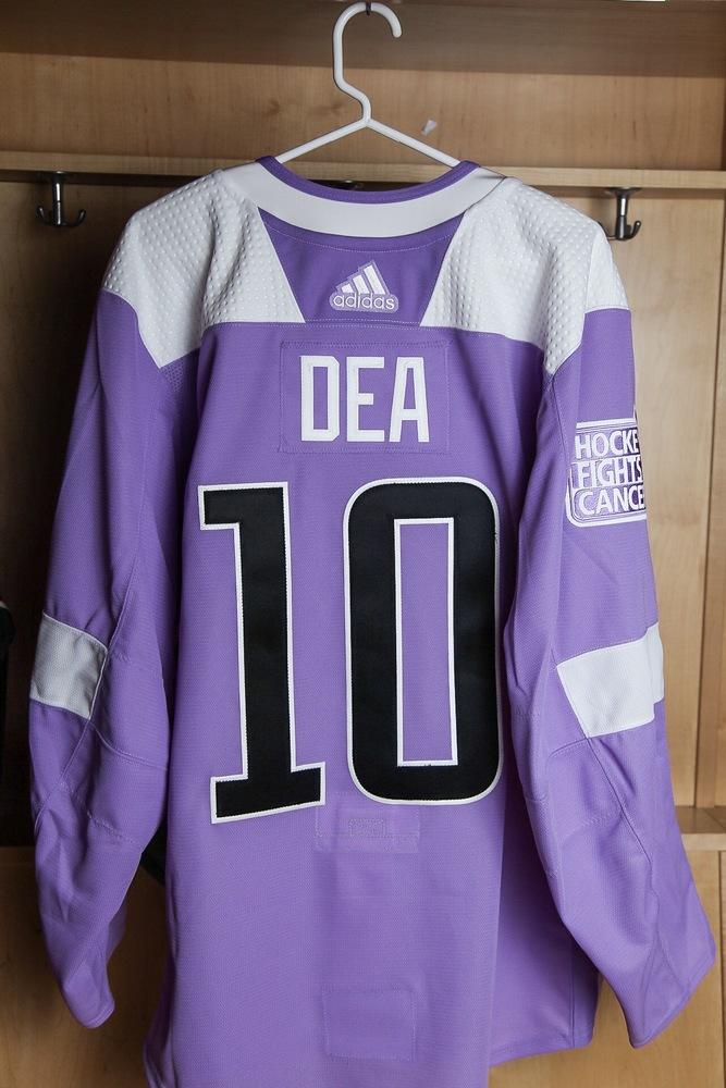 on sale 52d51 372ed Jean-Sebastien Dea Hockey Fights Cancer Autographed Lavender ...