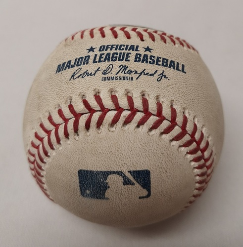 Photo of Authenticated Game Used Baseball - Kevin Kiermaier Triple against Marcus Stroman (September 3, 2018 vs TB). Top 2.