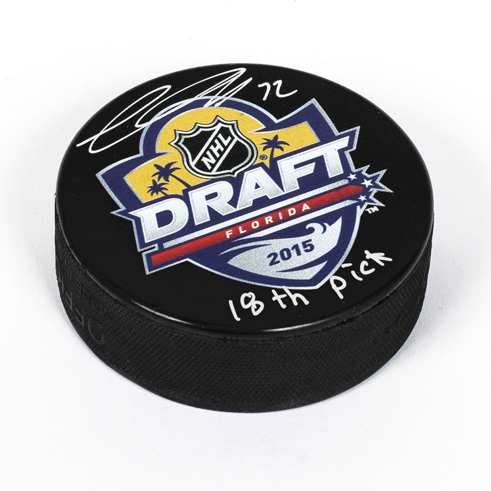 Thomas Chabot 2015 NHL Draft Day Autographed Hockey Puck with 18th Pick *Ottawa Senators*