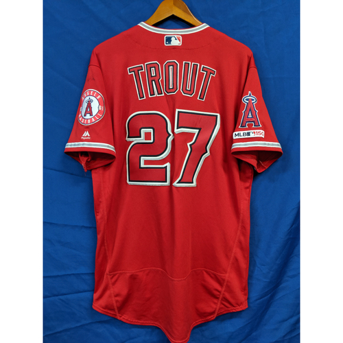 Photo of Mike Trout Game-Used 2 Home Run Alternate Red Jersey
