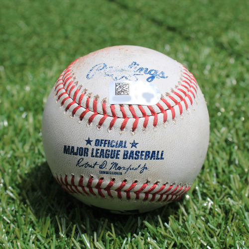 Game-Used Baseball: Bobby Bradley 3rd Career Double (CLE @ KC - 7/4/19)