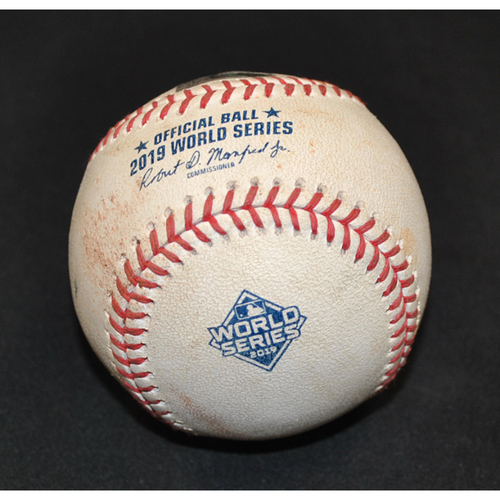 Photo of Game-Used Baseball: 2019 World Series - Game 1: Pitcher: Daniel Hudson, Batter: George Springer (RBI Double, Kyle Tucker Scores) - Bot 8