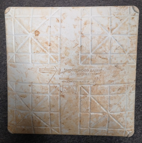Photo of Authenticated Game Used Base - 1st Base for Innings 6 to 9 (Jun 24, 14 vs NYY). Jeter's 2nd HR of 2014 and 258th Career.