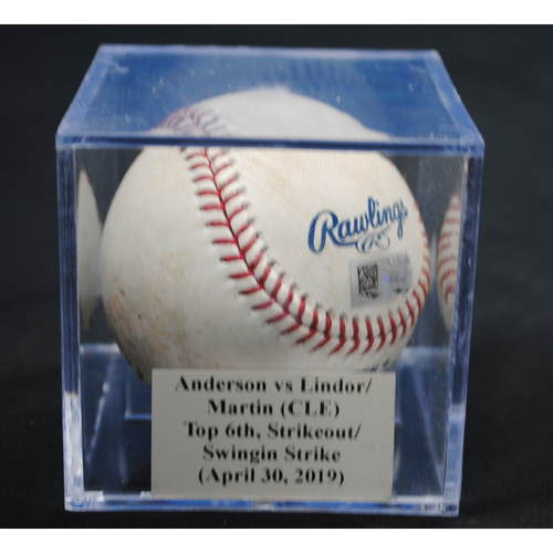 Photo of Game-Used Baseball: Nick Anderson vs Francisco Lindor/Leonys Martin (CLE), Top 6th, Strikeout/Swinging Strike (April 30, 2019)