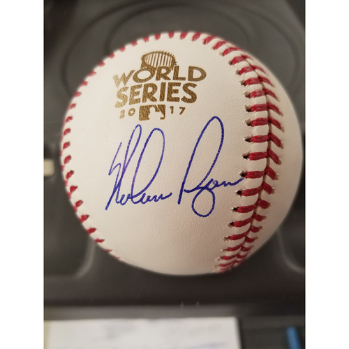 Photo of Nolan Ryan Autographed 2017 World Series Logo Baseball