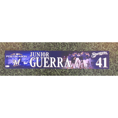 Photo of Junior Guerra 2018 Team-Issued Postseason (NLDS) Locker Nameplate