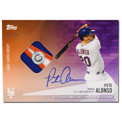 Photo of Pete Alonso #20 - Autographed Limited Edition of 20 Purple Topps Card - Features Authenticated Game Used Jersey from 2019 Rookie of the Year Campaign - Alonso Hits 51st HR on 9/25/19