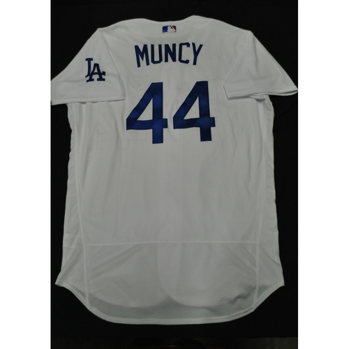 Photo of Hank Aaron Chasing the Dream Foundation: Max Muncy 2021 MLB All-Star Workout Day BP-Worn # 44 Jersey