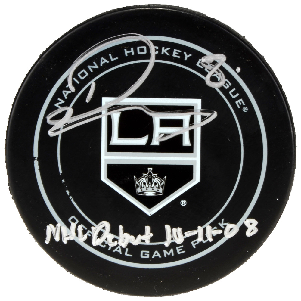 Drew Doughty Los Angeles Kings Autographed Official Game Puck with NHL Debut 10/11/08 Inscription