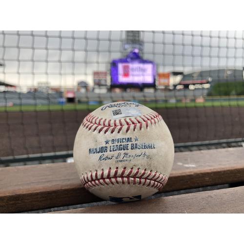 Colorado Rockies Game-Used Baseball - Anderson v. Rojas - Groundout to Arenado - September 26, 2017