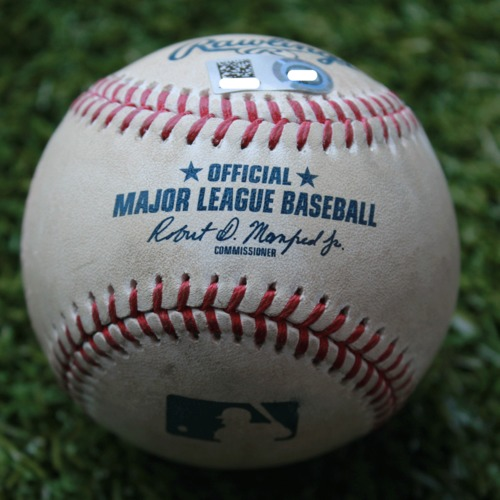 Photo of Game-Used Baseball: Matt Harvey Pitched Strikeout to Adalberto Mondesi (LAA @ KC - 4/28/19)