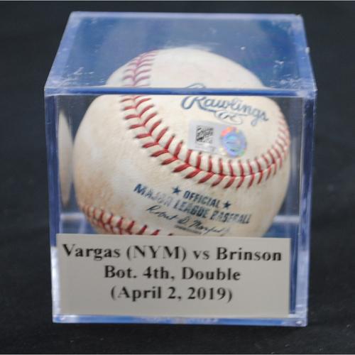 Photo of Game-Used Baseball: Jason Vargas (NYM) vs Lewis Brinson, Bot. 4th, Double (April 2, 2019)