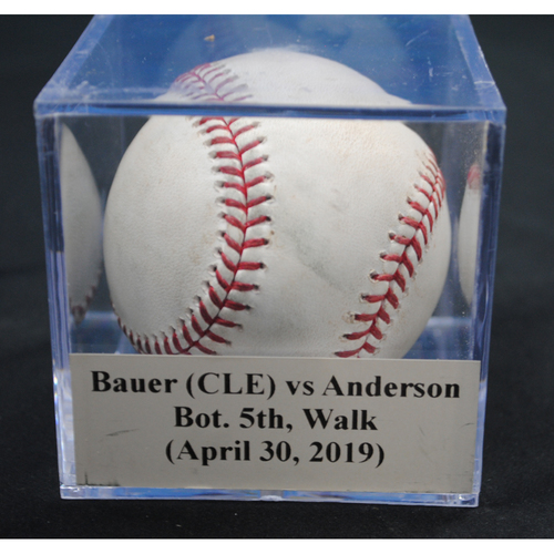 Photo of Game-Used Baseball: Trevor Bauer (CLE) vs Brian Anderson, Bot. 5th, Walk (April 30, 2019)