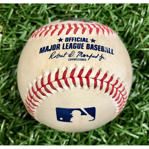 Photo of Game Used Baseball: Giancarlo Stanton Single off Tyler Glasnow - First 7-Inning DH at Tropicana Field - Game 1 - August 8, 2020 v NYY