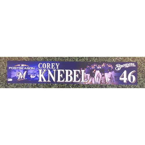 Photo of Corey Knebel 2018 Game-Used Postseason (NLDS) Locker Nameplate