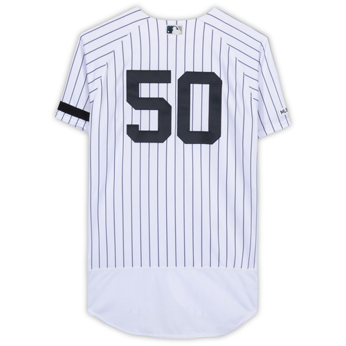 Photo of Reggie Willits New York Yankees Game-Used #50 White Pinstripe Jersey vs. Baltimore Orioles on March 28, 2019 - Size 44