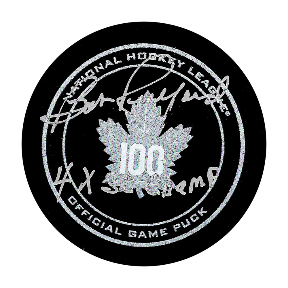 Bob Pulford Autographed Toronto Maple Leafs Centennial Official Game Puck w/4X SC CHAMP Inscription