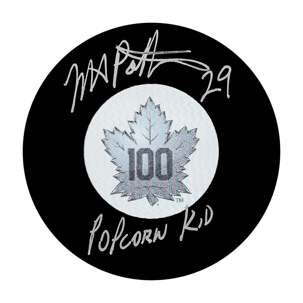 Mike Palmateer Autographed Toronto Maple Leafs Centennial Puck w/POPCORN KID Inscription