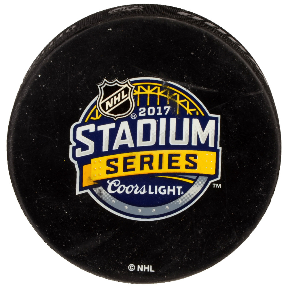 2017 Stadium Series Pittsburgh Penguins vs. Philadelphia Flyers Warm-Up Used Puck