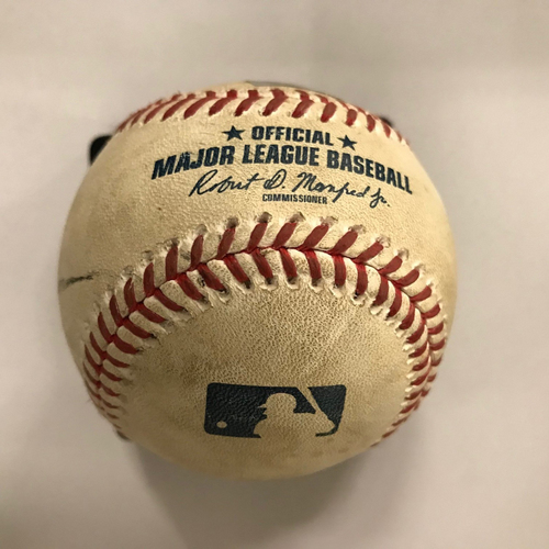 Photo of Game-Used Baseball - May 4, 2018 - Acuna Home Debut