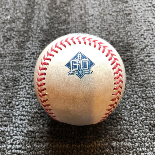 Photo of 2018 San Francisco Giants - Game-Used Ball - 60th Anniversary - Andrew McCutchen Single off Jack Flaherty - 7/8/18