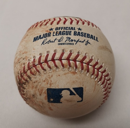 Photo of Authenticated Game Used Baseball - Francisco Lindor Single against Mark Leiter (September 6, 2018 vs CLE). Top 9.