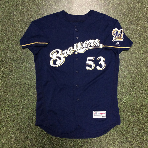 Photo of Brandon Woodruff 2018 Team-Issued Navy Alternate Jersey