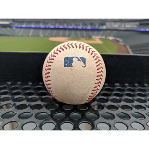 Photo of Colorado Rockies Game-Used Baseball - Estevez v. Turner - Single to Hampson - April 7, 2019