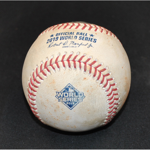 Photo of Game-Used Baseball: 2019 World Series - Game 2: Pitcher: Justin Verlander, Batter: Juan Soto (Foul) - Top 5
