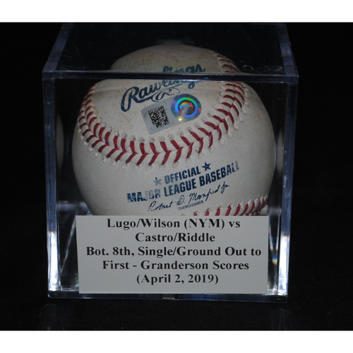Photo of Game-Used Baseball: Seth Lugo/Justin Wilson (NYM) vs Starlin Castro/J.T. Riddle, Bot. 8th, Single/Ground Out to First - Curtis Granderson Scores (April 2, 2019)