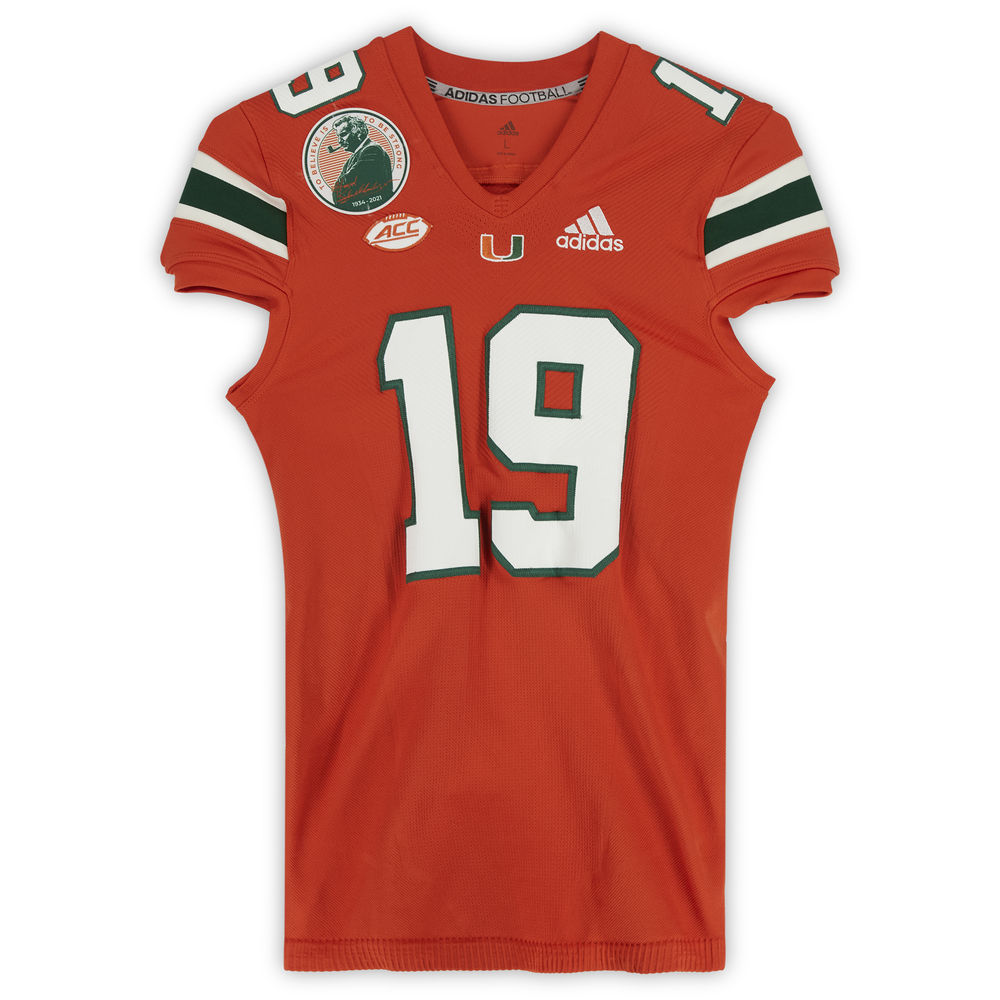 #19 Miami Hurricanes Game-Used adidas Primeknit Jersey with Howard Schnellenberger Patch vs. Virginia Cavaliers September 30, 2021 - Size L