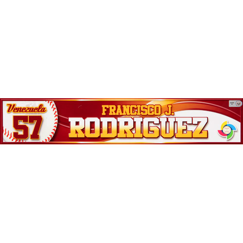 Photo of 2013 WBC: Venezuela Game-Used Locker Name Plate - #57 Francisco Rodriguez