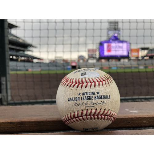 Photo of Colorado Rockies Game-Used Baseball - Anderson v. Pirela - RBI Double - April 10, 2018