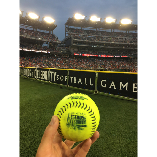 Photo of 2018 MLB All-Star Legends & Celebrity Softball Game - Game-Used Softball: Donovan Carter HR off Jennie Finch, Top 2nd
