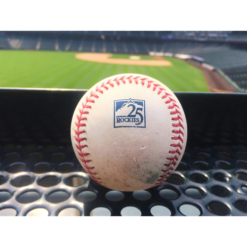Colorado Rockies Game-Used Baseball - Shaw v. Lowrie - Double (26) to Parra. Chapman Scores - July 27, 2018