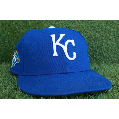 Photo of Game-Used 50 Seasons Cap: Hunter Dozier (Size 7 3/8 - CLE @ KC - 9/30/18)