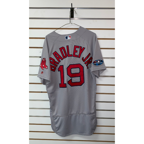 Photo of Jackie Bradley Jr team issued 2018 Postseason Road Jersey
