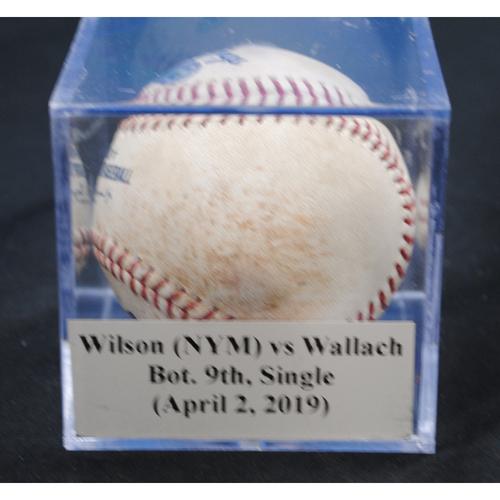 Photo of Game-Used Baseball: Justin Wilson (NYM) vs Chad Wallach, Bot. 9th, Single (April 2, 2019)