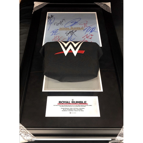Royal Rumble 2018 SIGNED Used Ring Canvas and Turnbuckle Commemorative Plaque