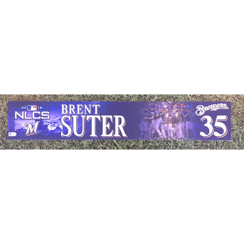Photo of Brent Suter 2018 Team-Issued Postseason (NLCS) Locker Nameplate