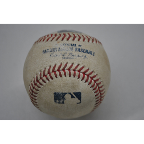 Photo of Game-Used Baseball - CLE vs. PIT - 8/19/2020 - Pitcher - Dovydas Neverauskas - Batter - Cesar Hernandez, Top 6, Double